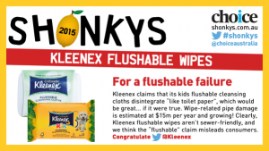 flushable wipes Shonky Award supported by Whywait Plumbing