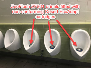 Desert eco adapt cartridges installed in ZeroFlush waterless urinals