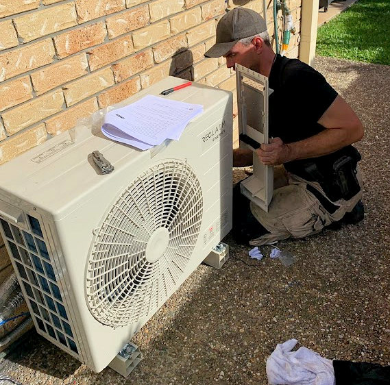 CO2 Smart Heat Pump hot water system being installed by Nathan Parrish of Whywait Plumbing Gold Coast