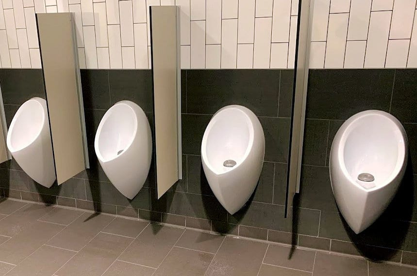 Uridan urinals requiring urinal servicing from Whywait Plumbing
